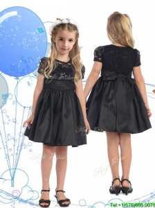 See Through Scoop Short Sleeves Lace and Belt Little Girl Pageant Dress in Black