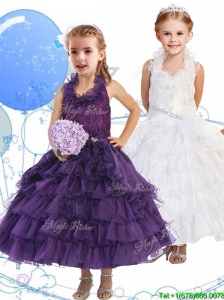 Unique Halter Top Little Girl Pageant Dress with Ruffled Layers