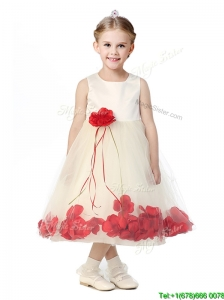 Best Scoop Little Girl Pageant Dress with Red Hand Made Flowers