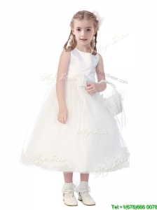 New Style Scoop Hand Made Flowers and Appliques Little Girl Pageant Dress in White