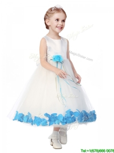 Perfect Scoop Little Girl Pageant Dress with Aqua Blue Hand Made Flowers