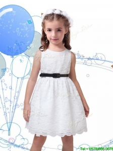 Popular Laced Scoop Little Girl Pageant Dress with Black Sashes
