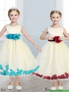 Sweet Scoop Little Girl Pageant Dress with Hand Made Flowers and Appliques