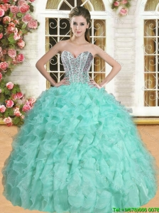 Exclusive Beaded and Ruffled Quinceanera Dress in Apple Green