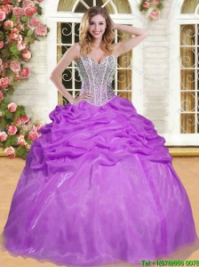 Fashionable Beaded and Pick Ups Sweet 16 Dress in Eggplant Purple