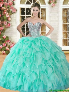 Hot Sale Apple Green Sweet 16 Dress with Beading and Ruffles