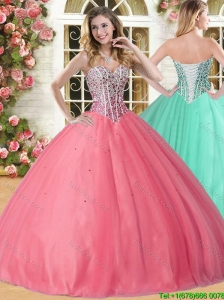 Lovely Beaded Coral Red Sweet 16 Dress in Tulle for Spring
