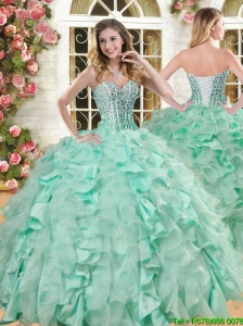 Lovely Big Puffy Apple Green Quinceanera Gown with Beading and Ruffles