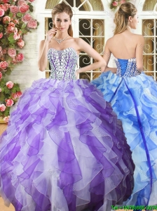 Popular Beaded Bodice and Ruffled Quinceanera Dress in Organza