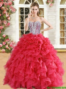 Romantic Beaded and Ruffled Organza Quinceanera Dress in Red