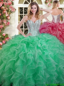 Visible Boning Beaded Bodice and Ruffled Quinceanera Dress in Green