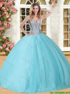 Visible Boning Beaded Bodice Tulle Sweet 16 Dress in Baby Blue