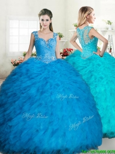 2016 Exclusive Straps Tulle Quinceanera Dress with Beading and Ruffles