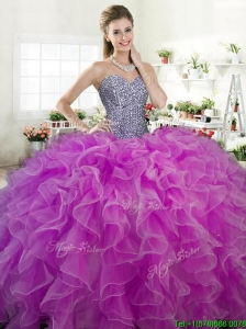 2016 New Arrivals Beaded Bodice and Ruffled Quinceanera Dress in Organza