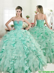 Best Apple Green Quinceanera Dress with Beading and Ruffles for Spring