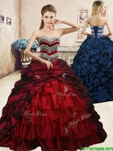 Latest Beaded and Pick Ups Quinceanera Dress with Brush Train