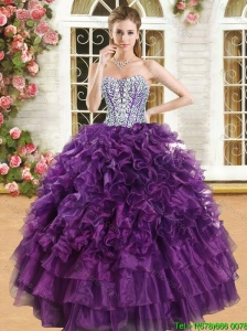 Latest Purple Big Puffy Quinceanera Dress with Beading and Ruffles