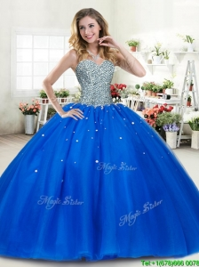 Luxurious Beaded Bodice Royal Blue Quinceanera Dress in Tulle