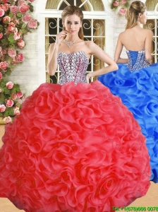 Luxurious Red Big Puffy Quinceanera Dress with Beading and Ruffles