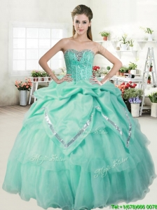 Romantic Apple Green Quinceanera Dress with Beading and Pick Ups for Spring