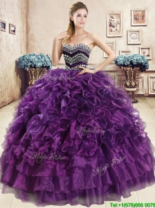 Romantic Beaded and Ruffled Organza Quinceanera Dress in Purple