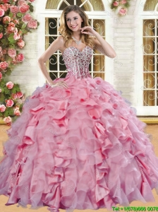 Romantic Beaded and Ruffled Quinceanera Dress in Pink for Spring