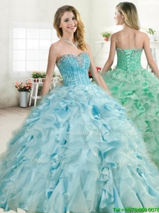 2016 Elegant Beaded and Ruffled Quinceanera Dress in Baby Blue