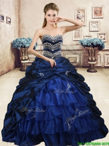 2016 Luxurious Navy Blue Brush Train Quinceanera Dress with Beading and Pick Ups