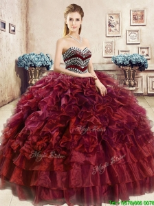 Affordable Beaded and Ruffled Wine Red Sweet 16 Dress in Organza