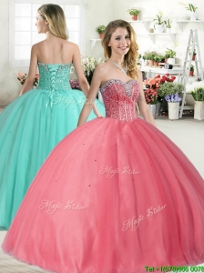 Affordable Beaded Big Puffy Quinceanera Dress in Coral Red