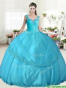 Best Straps Beaded and Applique Quinceanera Dress in Aqua Blue