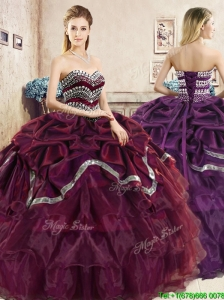 Comfortable Burgundy Quinceanera Dress with Beading and Pick Ups