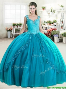 Elegant Straps Beaded and Applique Quinceanera Dress in Turquoise