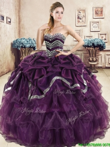 Exquisite Beaded and Pick Ups Purple Quinceanera Dress in Organza
