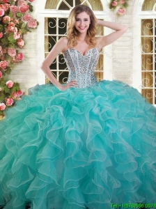 Exquisite Ruffled and Beaded Aqua Blue Quinceanera Dress in Organza