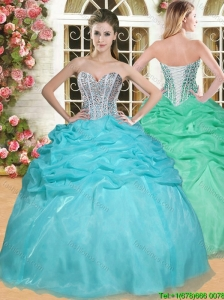 Gorgeous Beaded and Pick Ups Quinceanera Dress in Aqua Blue