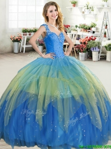 Hot Sale Straps Beaded and Ruffled Layers Quinceanera Dress in Tulle