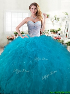 Inexpensive Beaded and Ruffled Big Puffy Quinceanera Dress in Teal