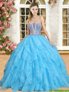 Perfect Beaded and Ruffled Aqua Blue Sweet 16 Dress in Organza