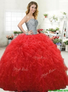 Simple Beaded Bodice and Ruffled Red Quinceanera Dress in Tulle
