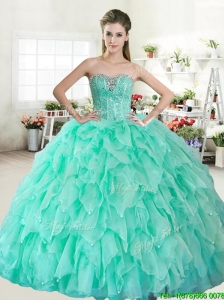 Visible Boning Beaded Bodice and Ruffled Quinceanera Dress in Apple Green