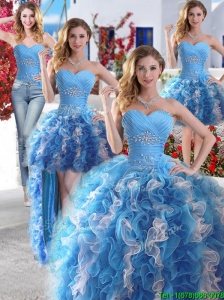2016 New Style Big Puffy Detachable Quinceanera Dresses with Beading and Ruffles