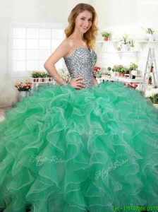 Beautiful Beaded and Ruffled Quinceanera Dress in Green for Spring
