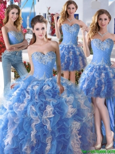 Comfortable Applique and Ruffled Detachable Quinceanera Dresses in Blue and White