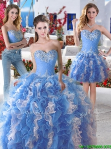 Pretty Blue and White Organza Detachable Sweet 16 Dresses with Appliques and Ruffles