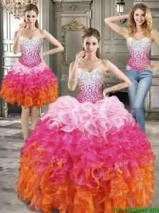 Beautiful Beaded and Ruffled Detachable Quinceanera Dresses in Multi Color