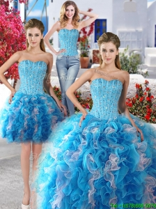 Exquisite Baby Blue and White Detachable Sweet 16 Dresses with Beading and Ruffles