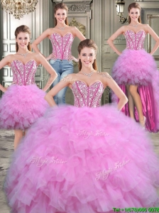 Exquisite Big Puffy Lilac Detachable Quinceanera Dresses with Beading and Ruffles