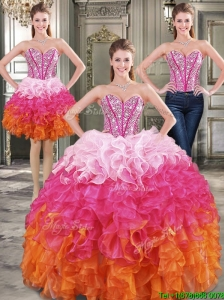 New Arrivals Rainbow Detachable Quinceanera Dresses with Beading and Ruffles