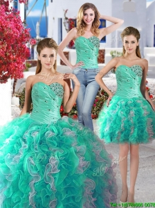 Perfect Beaded and Ruffled Detachable Quinceanera Dresses with Really Puffy
